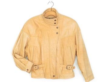 vintage leather jacket * cropped leather jacket * moto jacket * blonde leather jacket * insulated jacket * large