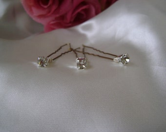 Six Diamante Hairpins