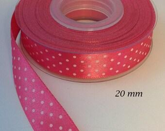 20 mm satin ribbon pink hyacinth shiny dots