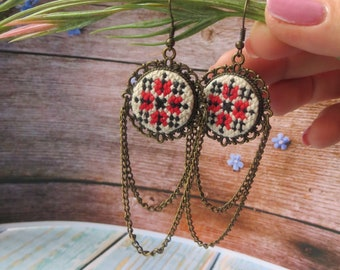 Ukrainian jewelry Cross stitch Hand embroidered earrings Ukrainian ornament earrings Birthday gift for her Black red homemade jewelry gift