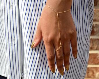 Gold Hand Chain Bracelet, Dainty Slave Bracelet, Sterling Silver Slave Bracelet, Ring Bracelet, Bridesmaid Jewelry Gift, Bridal Jewelry