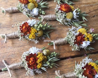 Wedding Buttonholes. Made from dried flowers and grasses for a rustic, vintage or country feel.