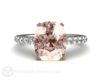 Cushion Morganite Engagement Ring Morganite Ring Solitaire with Conflict Free Diamonds 14K or 18K Gold Wedding Ring
