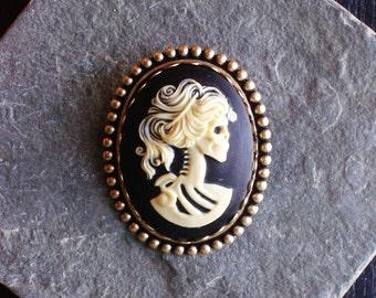 Skeleton cameo brooch, black skull brooch, day of the dead brooch, sugar skull brooch, antique brass, cameo jewelry, unique gift ideas