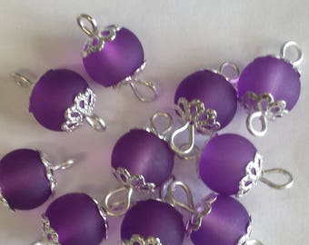 5 connectors 8mm frosted purple glass beads