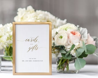 Cards And Gifts Sign, Cards & Gifts Printable Template, Gift Table Sign, Printable Wedding Sign, Guestbook Wedding Sign Download - KPC03_307