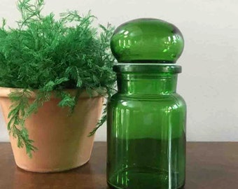 Green Bubble Top Jar / Belgium Jar / Green Glass Jar / St Patrick's Day Decor / Green Kitchen / Retro Glass Container / Emerald Green