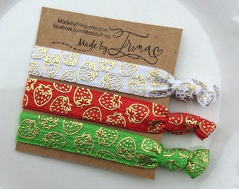 STRAWBERRY PATCH red white and green hair tie bracelet set of 3