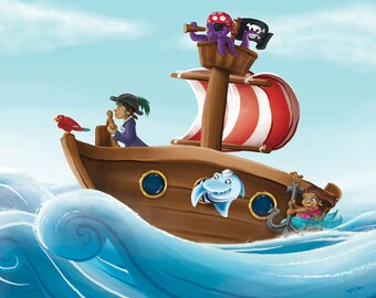 Pirate Adventure illustration Kids Art digital print 8x10