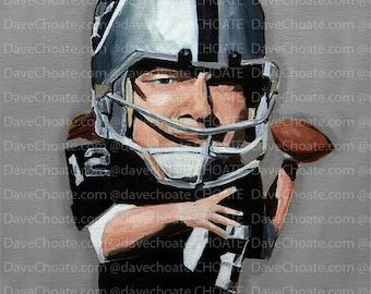 Art Photo Print. Ken Stabler, Oakland Raiders NFL Hall of Famer
