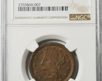 1854 1c Braided Head Large Cent NGC AU58 BN Rare