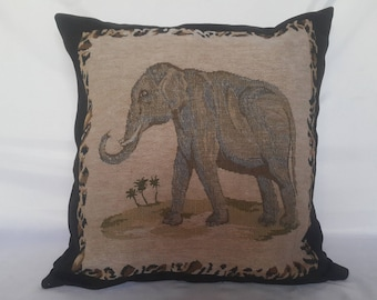 Elephant throw pillow-Elephant art pillow-Suede cushion-Beige and black cushion-Made in Zimbabwe