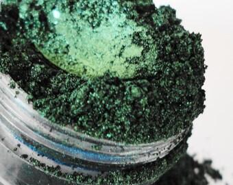 Green Eyeshadow Natural Organic Vegan Smokey Eyes Eyeliner Mineral Makeup Eye Shadow 10g Sifter Jar POISON glitter