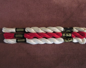 3 skeins DMC pearl cotton thread size 3, white, red, ecru