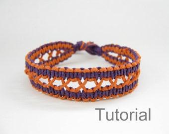 Knotted bracelet pattern macrame tutorial pdf purple orange jewelry instructions how to diy Xmas handmade makrame tuto micro jewellery