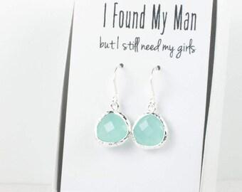 Mint Silver Earrings, Silver Green Earrings, Bridesmaid Gift, Mint Wedding Jewelry, Bridesmaid Earrings, Green Bridal Accessories