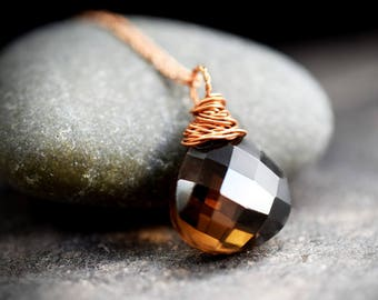 925 rose gold plated necklace with Smoky Quartz (K925-95)