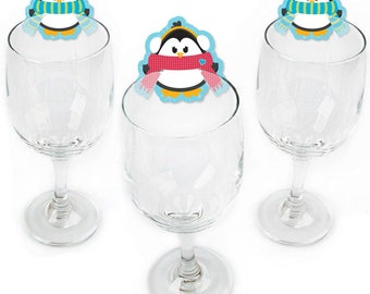 Holly Jolly Penguin - Holiday & Christmas Party Wine Markers - Shaped Wine Glass Charms - Drink Markers - Wine Tags - Barware - 24 Ct.
