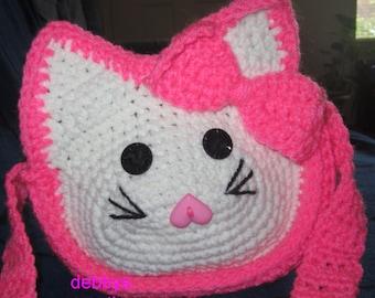 Handmade Crochet Child Kitty Pink and White Purse.