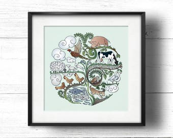 Born to Roam (Apple) - A4 Sq Giclée Print - Free Range / Vegan Farm Animals, Contemporary Country Cottage Kitchen Style Picture