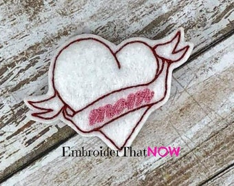 INSTANT DOWNLOAD Mom Heart Tattoo Digital Feltie Embroidery Design File