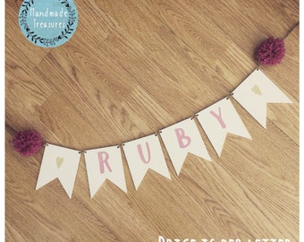 Wooden name bunting Personalised hanging pom poms baby girls bedroom nursery playroom sign hanging plaques pink gold glitter heart