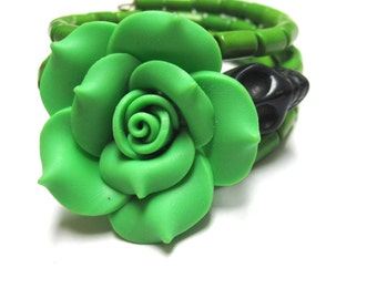 Day Of The Dead Bracelet Sugar Skull Jewelry Green Rose Black