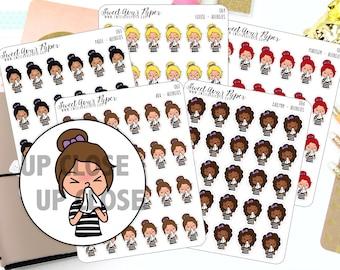 Allergies Planner Stickers - Sick Planner Stickers - Sneeze Planner Stickers - Tissue Planner Stickers - 1262 - 1263 - 1264 - 1265 -1266