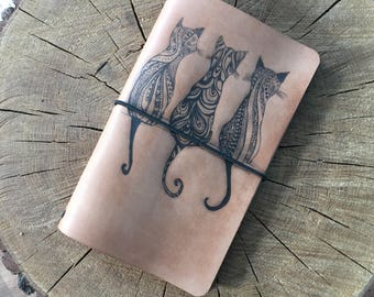 Leather Cats Notebook, Leather Cover Moleskine, Handmade Cover, Leather Notebook Cover, Leather Journal Cover,Leather Brown Moleskine cover