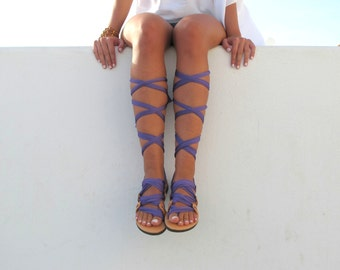 "Lace up sandals, Customizable, Choose scarf laces from 20 colors and leather footbed from 6 colors  ""ATHENA"""