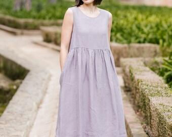 Linen Dress, Modest Dress, Women Dress, Summer Linen Dress, Sleeveless Dress, Casual Dress, Minimalist Dress, Home Dress / Lavender Smock NS