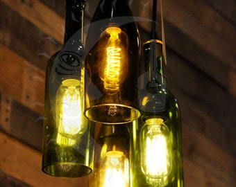 4- Light Chandelier Recycled Wine Bottle Pendant Lamp Hanging Bottle Light