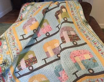 Quilt/Camper/Retro/Vintage/Aqua/Cotton/Handmade/Blanket/Whimsical/Camping/Retro Decor/Colorful/Pastel/Adorable/Travel Trailer/