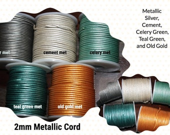 Round Leather Cord Qty 5 Yards to 15 Yards, 2mm Round Cording, Great Wrap Bracelets, Leather for Jewelry, Metallic Color
