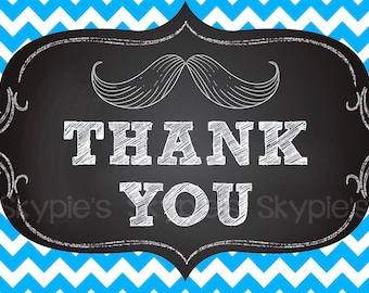INSTANT Printable Thank You Note Baby Shower Invitation add on - Mustache Bash Chalkboard Invite - Blue and Chevron