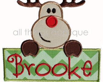 reindeer sign applique christmas applique designs 3 sizes instant download - Christmas Applique Designs