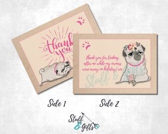 Personalised - Pug - Thank You - Double Sided Thank You Card