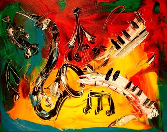 JAZZ Modern Abstract Gallery Artist Contemporary Wall Decor Original Oil Painting PRINT
