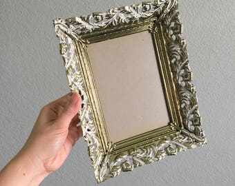 Vintage Picture Frame / 5x7 Gold Metal With Whitewash / Antique Art Deco Filigree / Wedding Table Display Decor / shabby mid century
