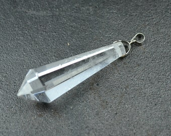 one Natural Rock Quartz Clear Crystal Charm Pedant Terminator Pendulum Point Top Drilled