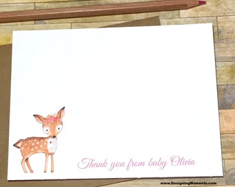 Woodlands Fawn Stationery - Personalized Note Cards - Baby Shower Thank You Card Set - Baby Girl - Deer Woodland Rustic Stationary DM249