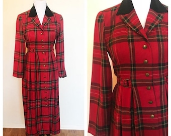 SHOP SALE Vintage 90s Red Plaid Long Sleeve Button Up Maxi Dress Jacket 6