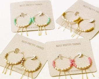 Hoop Earrings, Beaded hoop Earrings, Thin Hoop Earrings, Gold Filled Hoops, Boho Earrings, Fringe Earrings, Fringe hoops