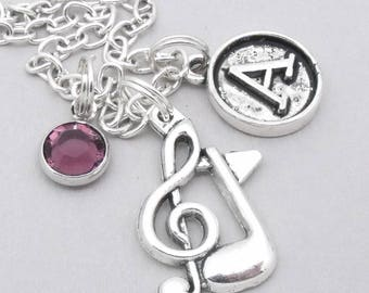 Music note vintage initial necklace | musical note necklace | music note pendant | personalised music necklace | musical symbol jewelry