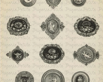 Vintage Brooches Jewelry Digital Download Collage Sheet