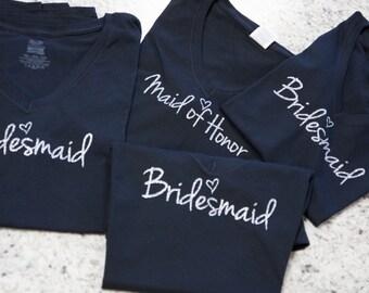 Wedding party shirts. Bridesmaid gift. Bridesmaid gift idea. Bridesmaid shirts. Custom wedding party shirts. Personalized bridal party shirt