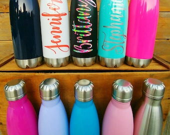 Set of 5 Stainless Steel Water Bottle-Custom Name/Monogram-Personalized-Gift-Bridesmaid-Wedding-Bridal/Bachelorette Party/17 oz/Sports