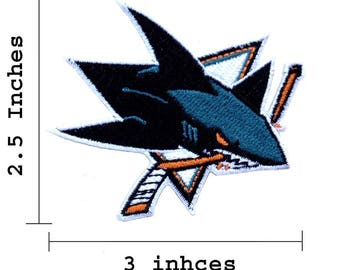 "San Jose Sharks Logo 3"" Embroidered Iron On Patch."