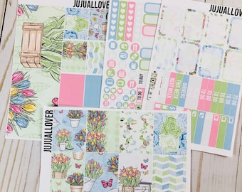 GARDEN Mini Kit Planner Stickers l Vertical Weekly Kit l White Space Stickers l Summer Mini Kit l Summer Stickers l Garden Stickers