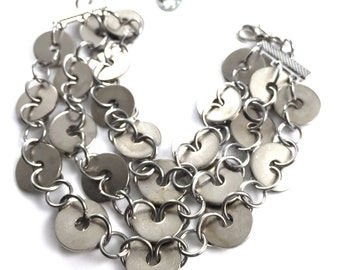 Cuff Bracelet Multi Strand Hardware jewelry Chain Industrial Jewelry